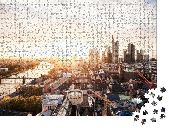 """Puzzle 1000 Teile """"Sonnenuntergang über der Frankfurter Skyline"""""""