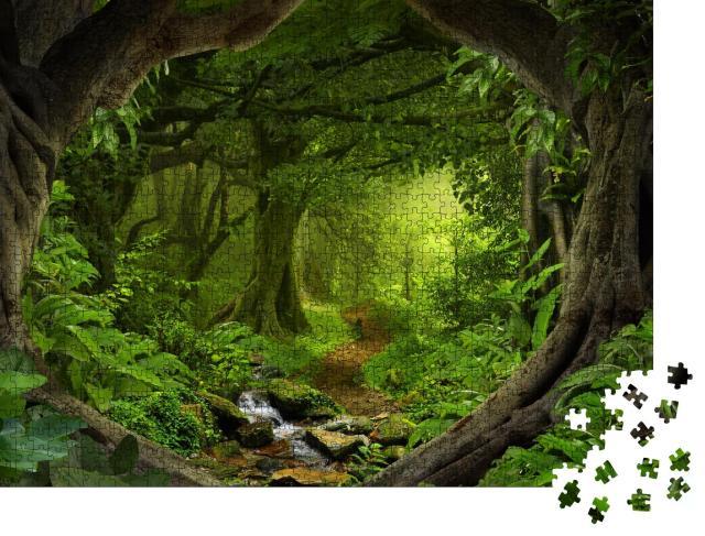 """Puzzle 1000 Teile """"Tiefer tropischer Dschungel mit Fluss in Südostasien"""""""