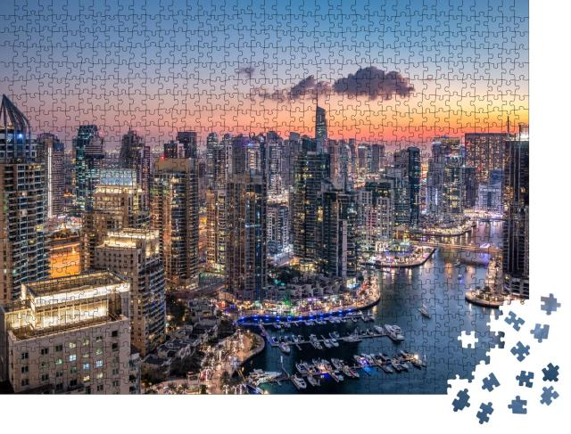 """Puzzle 1000 Teile """"Wolkenkratzer der modernen Skyline von Dubai"""""""