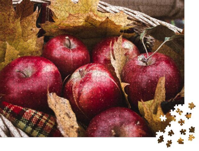 """Puzzle 1000 Teile """"Ernte von roten Äpfeln in einem Korb voller Herbstlaub"""""""