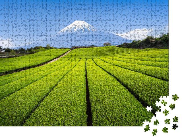 """Puzzle 1000 Teile """"Berg Fuji mit grüner Teeplantage, Präfektur Shizuoka, Japan"""""""