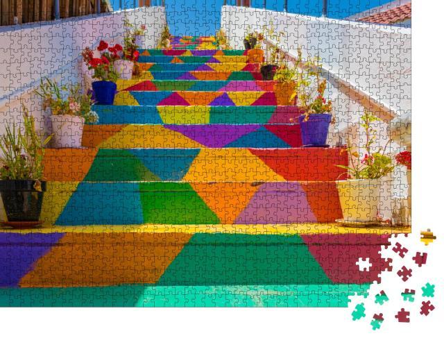 """Puzzle 1000 Teile """"Bunte Treppe in Tunis, Tunesien"""""""