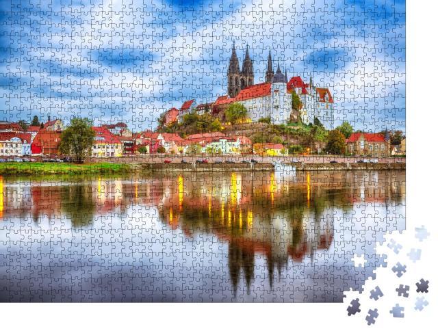 """Puzzle 1000 Teile """"Albrechtsburg und der Dom an der Elbe mit dramatischem Sonnenuntergang, Meißen"""""""