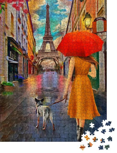 """Puzzle 1000 Teile """"Ölgemälde: Regentag in Paris"""""""