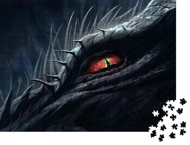 """Puzzle 1000 Teile """"Rotes Auge des Drachens, digitale Malerei"""""""