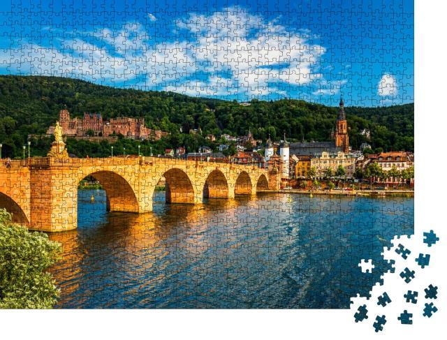 """Puzzle 1000 Teile """"Blick über den Neckar auf Heidelberg, Deutschland"""""""