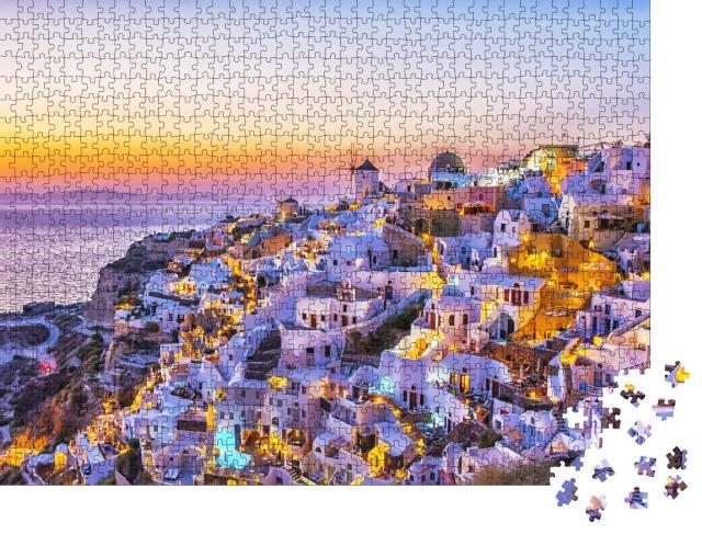 """Puzzle 1000 Teile """"Dorf Oia mit traditionellen weißen Häusern und Windmühlen, Santorini, Griechenland"""""""
