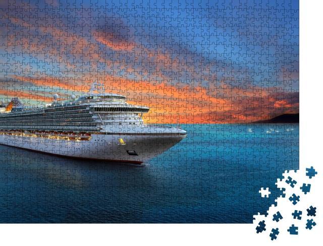 """Puzzle 1000 Teile """"Luxus-Kreuzfahrtschiff im Sonnenuntergang"""""""