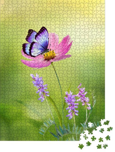 """Puzzle 1000 Teile """"Die Schönheit der Natur: Cosmea und Schmetterling"""""""