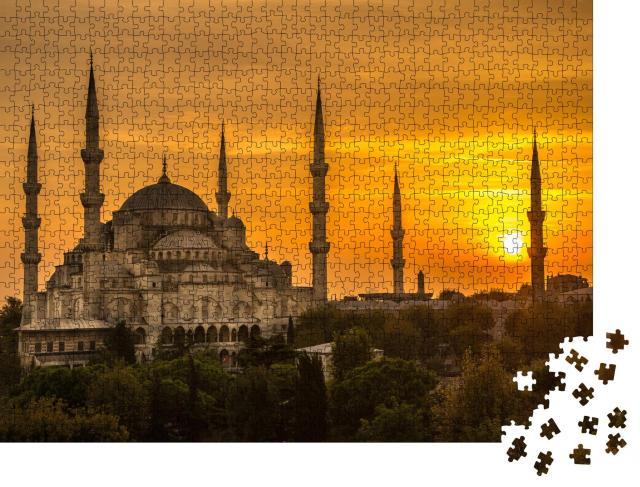 """Puzzle 1000 Teile """"Sonnenuntergang an der Blauen Moschee"""""""