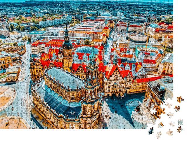 """Puzzle 1000 Teile """"Zentrum der Dresdner Altstadt, Sachsen, Deutschland"""""""