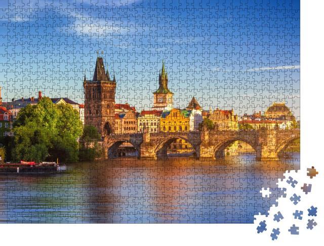"""Puzzle 1000 Teile """"Luftaufnahme der Altstadt von Prag mit Pier, Tschechische Republik"""""""