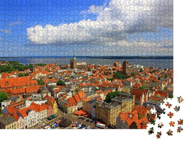 """Puzzle 1000 Teile """"Panorama von Stralsund aus der Luft, Mecklenburg-Vorpommern, Deutschland"""""""