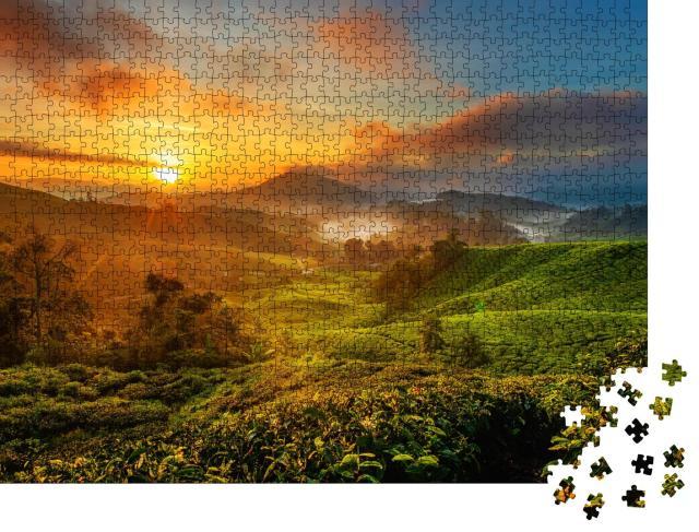 """Puzzle 1000 Teile """"Sonnenaufgang über einer Teeplantage  im Cameron Highland, Malaysia"""""""