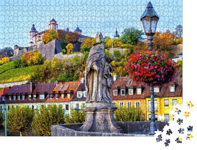 """Puzzle 1000 Teile """"Festung Marienberg von der Alten Mainbrücke in Würzburg, Bayern"""""""