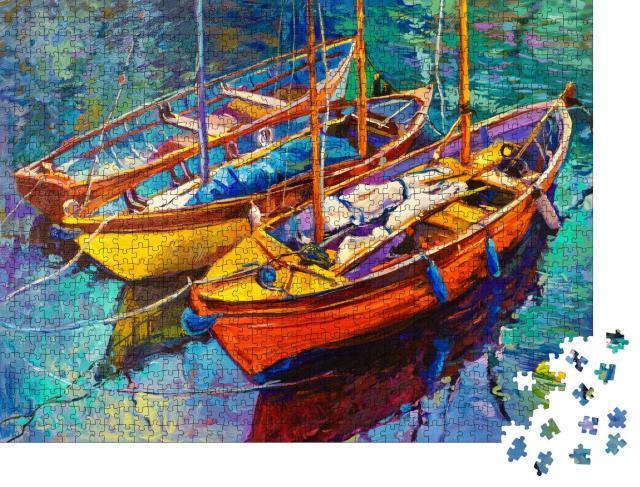 """Puzzle 1000 Teile """"Ölgemälde: Fischerboote vertäut im Hafen"""""""