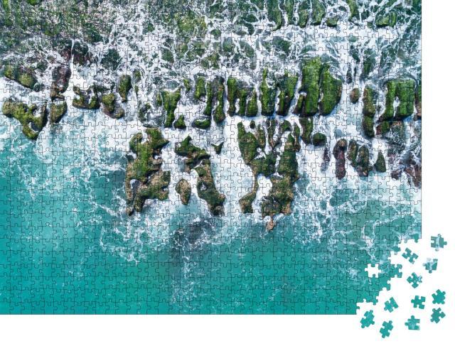 """Puzzle 1000 Teile """"Luftaufnahme des Laomei Green Reef an der Nordküste von Taiwan"""""""