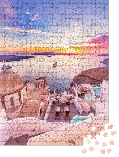 """Puzzle 1000 Teile """"Blick auf Santorini: malerischer Frühlingstag, Griechenland"""""""