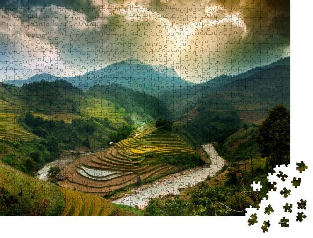 """Puzzle 1000 Teile """"Reisfelder auf Terrassen von Mu Cang Chai, YenBai, Vietnam"""""""