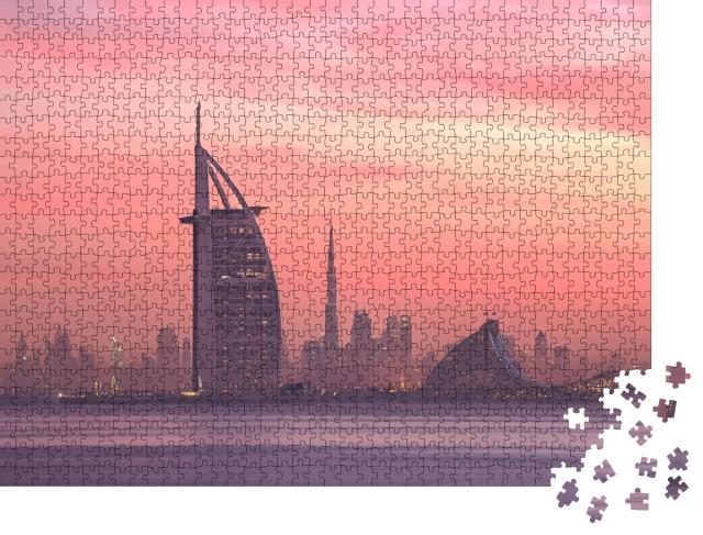 """Puzzle 1000 Teile """" Skyline von Dubai von Jumeirah Beach bis Downtown """""""