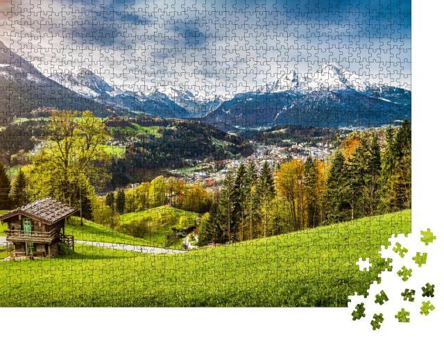 """Puzzle 1000 Teile """"Panoramablick auf das Watzmann-Massiv, Bayern, Deutschland"""""""