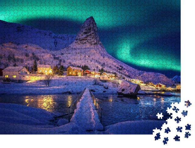 """Puzzle 1000 Teile """"Polarlichter in der winterlichen Landschaft der Lofoten, Norwegen"""""""
