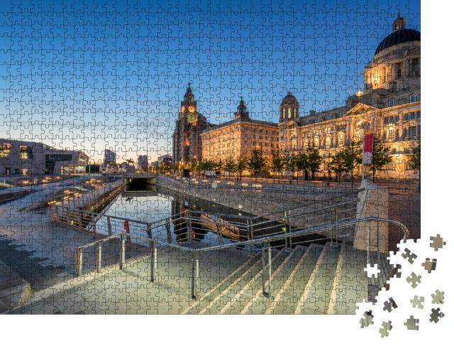 """Puzzle 1000 Teile """"Die drei Grazien an der Pier Head-Wasserfront in Liverpool"""""""