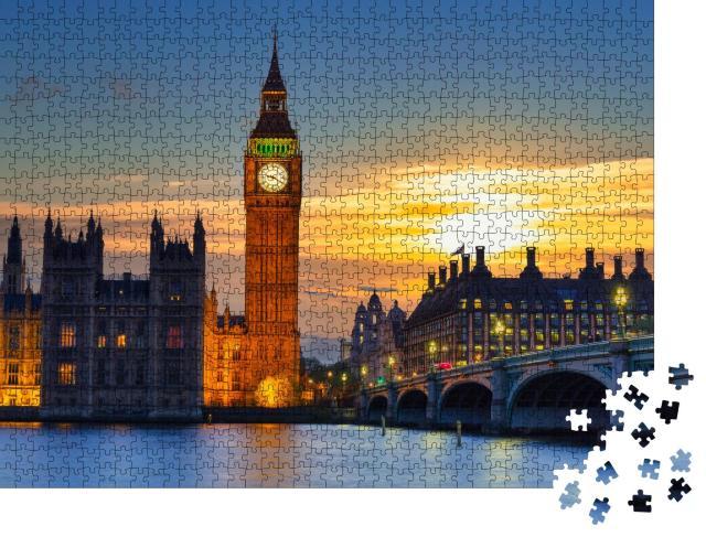 """Puzzle 1000 Teile """"Big Ben und Westminster Bridge im Sonnenuntergang, London"""""""
