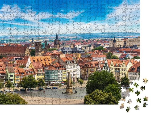 """Puzzle 1000 Teile """"Luft-Panorama von Erfurt im Sommer, Deutschland"""""""