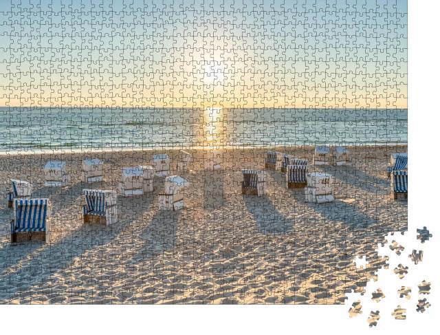"""Puzzle 1000 Teile """"Strandkörbe an der Nordseeküste auf Sylt, Deutschland"""""""
