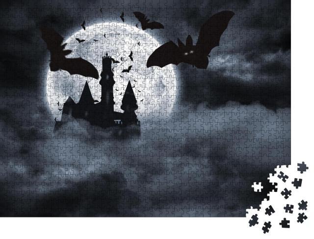 """Puzzle 1000 Teile """"Digital erzeugte Fledermäuse, die bei Vollmond von Draculas Schloss fliegen"""""""