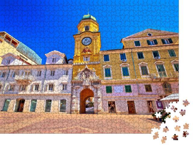"""Puzzle 1000 Teile """"Rijeka Hauptplatz und Uhrturm, Kvarner Bucht, Kroatien"""""""