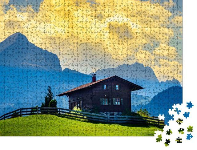 """Puzzle 1000 Teile """"Blockhaus im Wettersteingebirge, Bayern"""""""