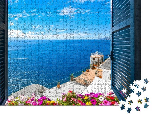"""Puzzle 1000 Teile """"Blick aus dem offenen Fenster auf das Mittelmeer, Sorrent, Italien"""""""