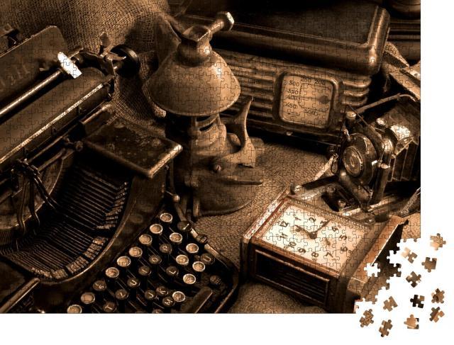 """Puzzle 1000 Teile """"Vintage-Stillleben mit alter Schreibmaschine, Retro-Kamera und Radio"""""""
