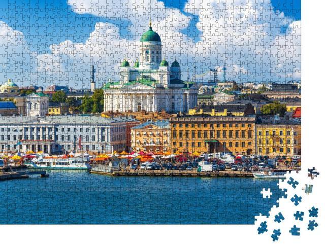"""Puzzle 1000 Teile """"Sommerpanorama an der Altstadtmole in Helsinki, Finnland"""""""