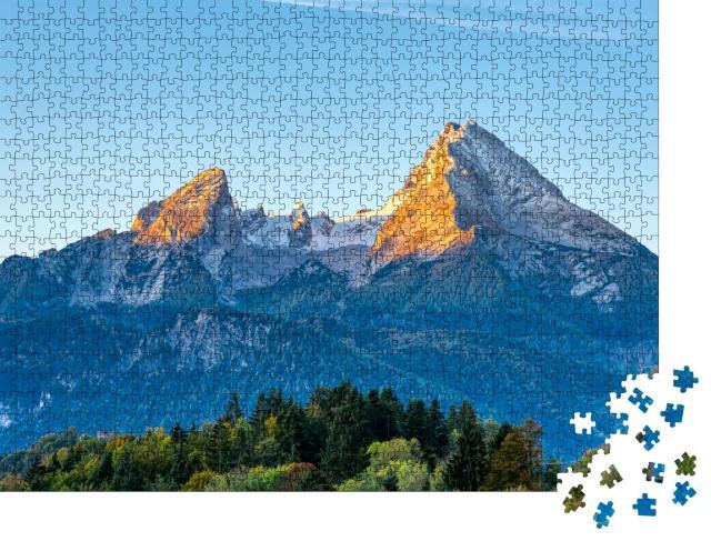 """Puzzle 1000 Teile """"Morgendliche Sonnenstrahlen am Watzmann in den bayerischen Alpen"""""""