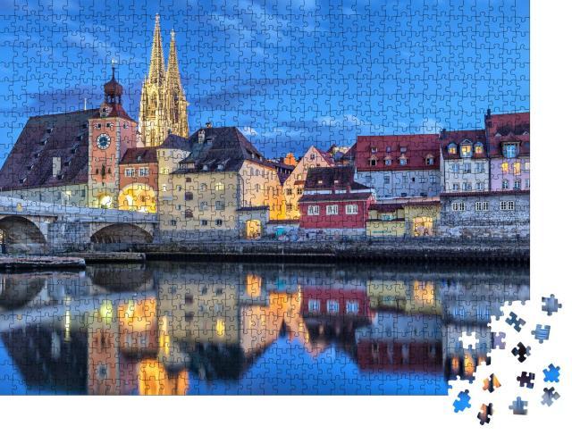 """Puzzle 1000 Teile """"Historische Steinerne Brücke, Regensburg, Deutschland"""""""