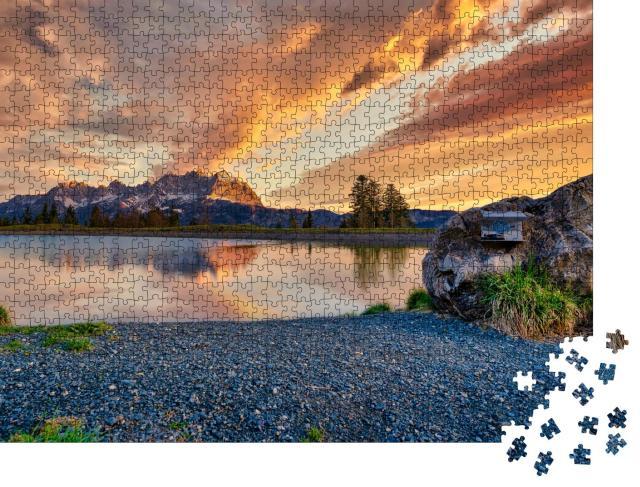 """Puzzle 1000 Teile """"Das Gebirge des Wilden Kaisers früh am Morgen"""""""