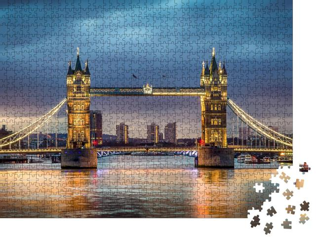 """Puzzle 1000 Teile """"Tower Bridge über der Themse im Sonnenuntergang"""""""
