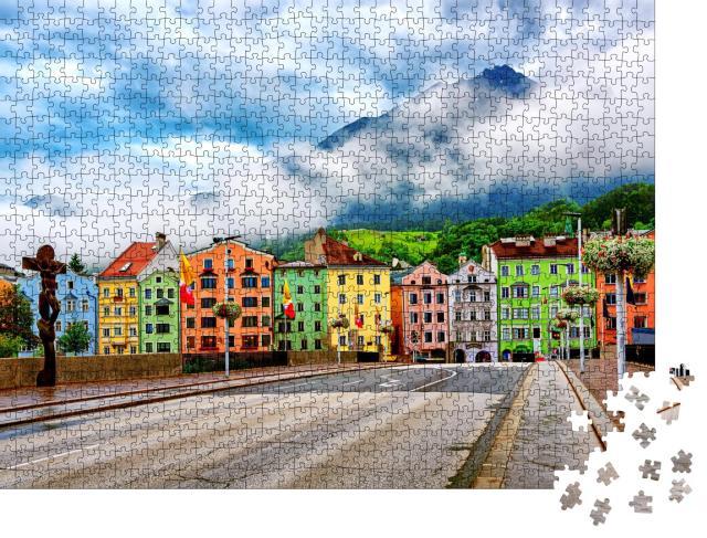 """Puzzle 1000 Teile """"Traditionelle bunte Häuser in Innsbruck, Österreich"""""""