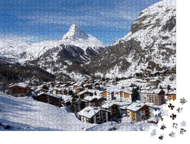 """Puzzle 1000 Teile """"Winterliches Dorf Zermatt, im Hintergrund das Matterhorn"""""""