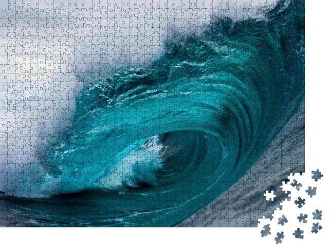 """Puzzle 1000 Teile """"Riesige eindrucksvolle Welle im blauen Ozean"""""""