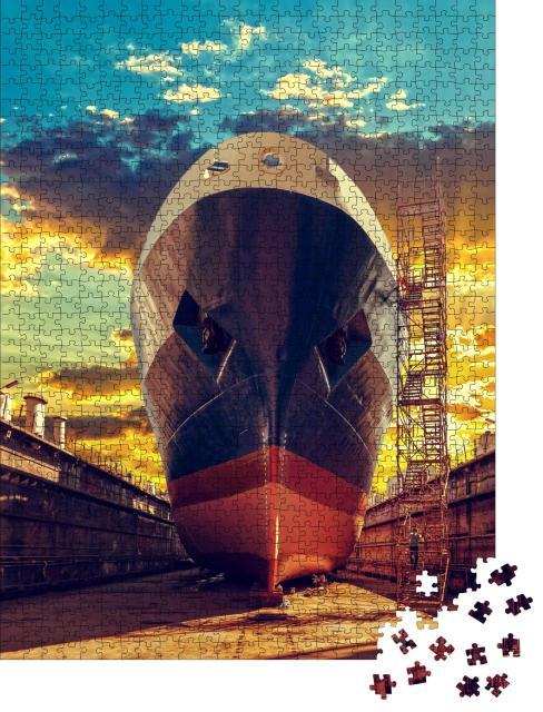 """Puzzle 1000 Teile """"Schiff im Trockendock einer Werft"""""""