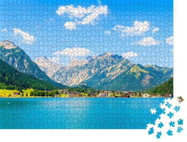"""Puzzle 1000 Teile """"Blick auf das Dorf Pertisau am Ufer des schönen Achensees, Tirol"""""""