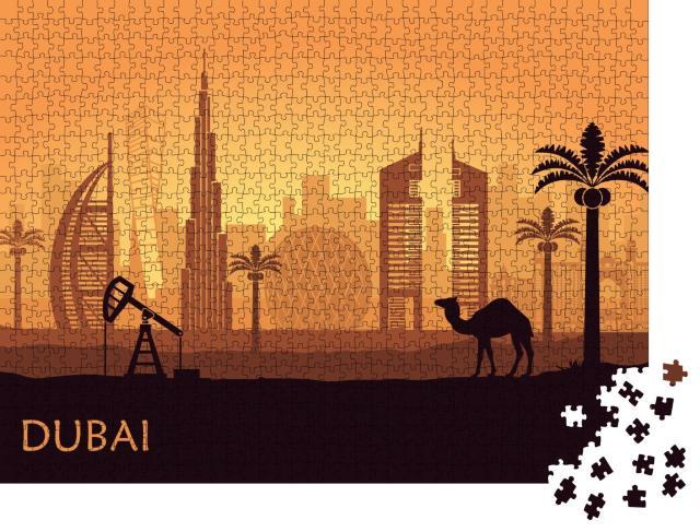 """Puzzle 1000 Teile """"Abstrakte Skyline von Dubai in der Abenddämmerung"""""""