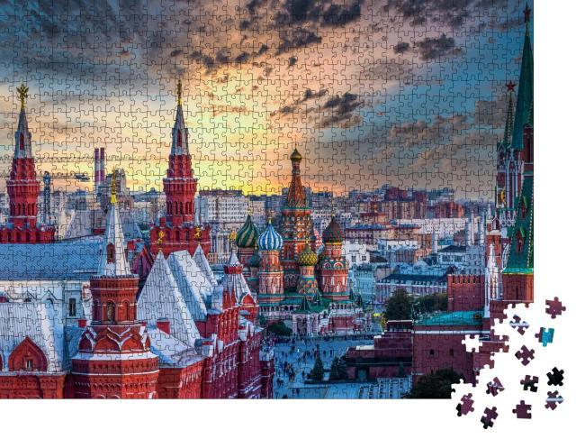 """Puzzle 1000 Teile """"Basilius Kathedrale und Architektur am Roten Platz, Moskau, Russlan"""""""