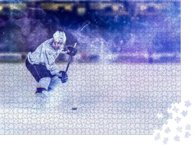 """Puzzle 1000 Teile """"Eishockeyspieler in Aktion beim Schießen mit dem Schläger"""""""