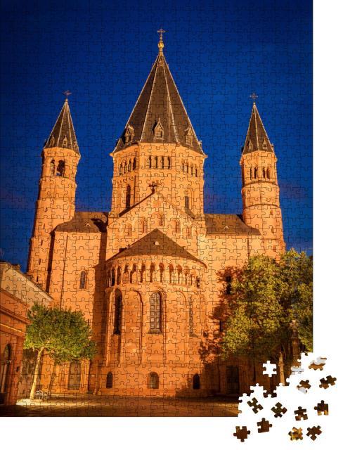 """Puzzle 1000 Teile """"Mainzer Dom am Abend, Mainz, Rheinland-Pfalz"""""""