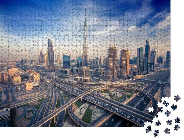 """Puzzle 1000 Teile """"Skyline von Dubai mit Schnellstraße"""""""
